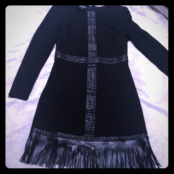 bebe Dresses & Skirts - Bebe Fringed Black dress